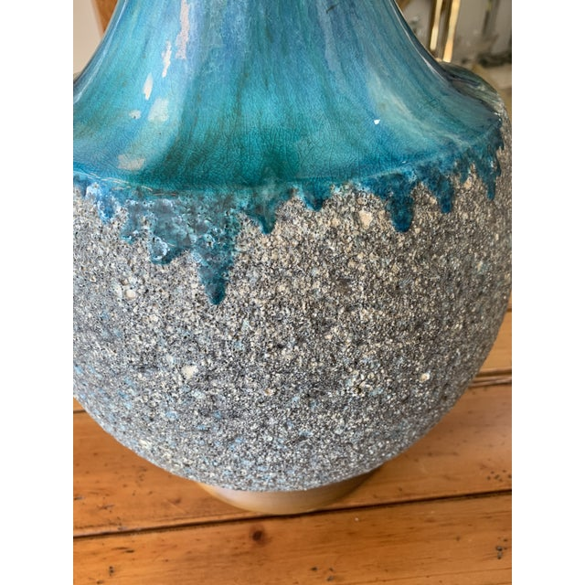 Pair of Drip Glaze Mid Century Lamps For Sale In New York - Image 6 of 8