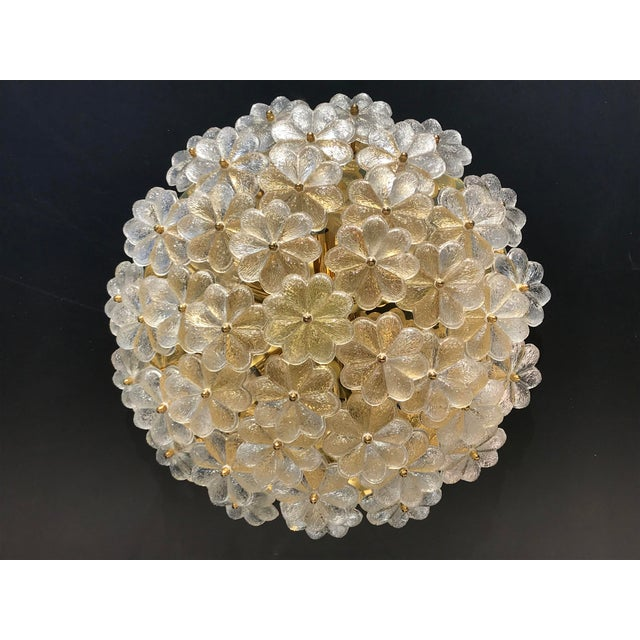 Xtra large Ernst Palme floral glass sconce / flush mount made in West Germany in 1960's. Rewired for USA, requires E14...