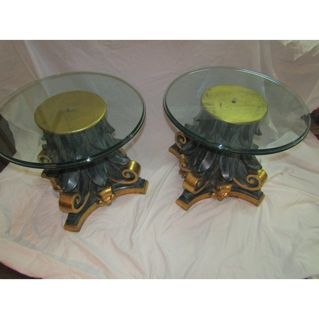 Green & Gold Wood Columns Accent Tables - A Pair - Image 4 of 4
