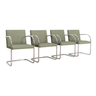 Mid Century Bauhaus Mies Van Der Rohe Green Brno Tubular Dining Chairs - Set of 4 For Sale