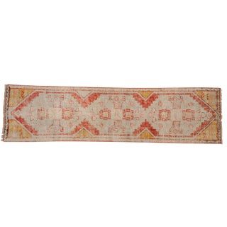 "Vintage Distressed Fragment Oushak Rug Runner - 2' X 7'5"" For Sale"