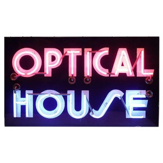 "1950's Vintage Original ""Optical House"" Neon Sign For Sale"
