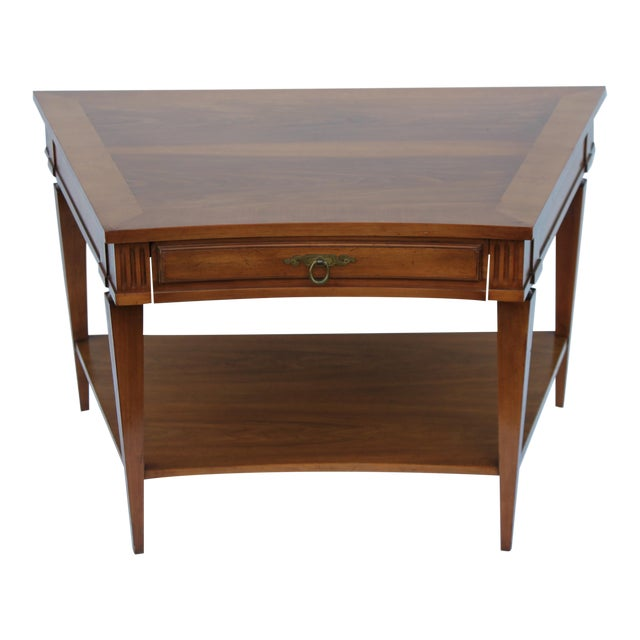 John Widdicomb Mid-Century Curved High End Walnut Accent Table - Image 1 of 11