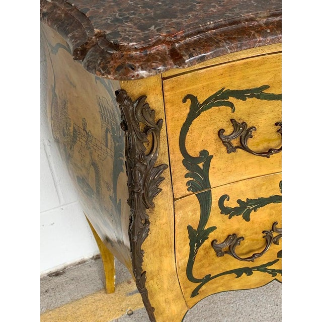Gold Fine Italian Piranesi Topographical Polychromed Marble Top Commode For Sale - Image 8 of 13