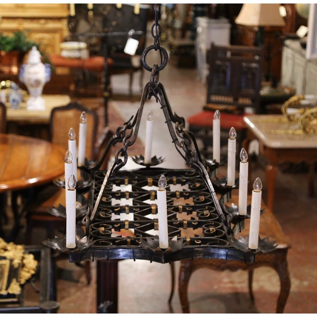 19th Century French Gothic Forged Iron Flat Bottom Ten-Light Chandelier For Sale - Image 11 of 13
