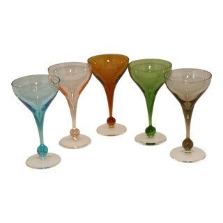 Vintage Mid-Century Handblown Crystal Stem Cocktail Glasses - Set of 5 For Sale