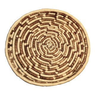 Large Vintage Mid-Century African Handmade Woven Basket For Sale