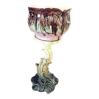Art-Nouveau Majolica Cachepot Pedestal