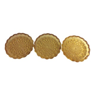 Retro Gold Glass Coasters With Scalloped Edges - Set of Three
