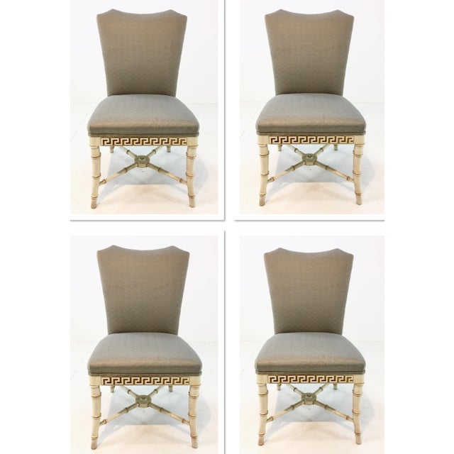 Fabric Century Furniture Greek Key Carved Dining Chairs Set of Four For Sale - Image 7 of 7