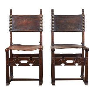 20th C. South American Side Chair With Leather Seat & Back - a Pair For Sale