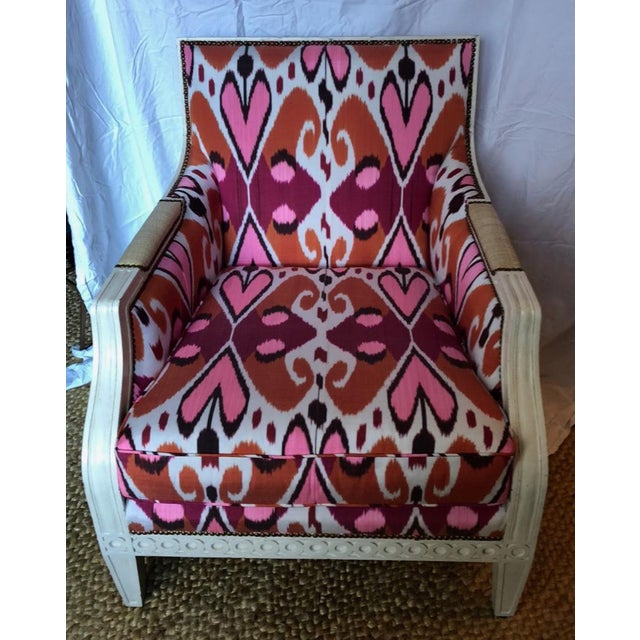 """Oly Studio Tobias chair in Madeline Weinrib Mor Ikat Fabric Dimensions: 31""""W x 33""""D x 36.5""""H $3000 (Retail $6000) Hand-..."""
