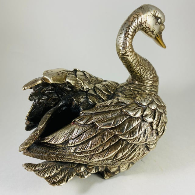 Vintage Silver & Gold-Plated Swan Sculpture For Sale In Las Vegas - Image 6 of 11