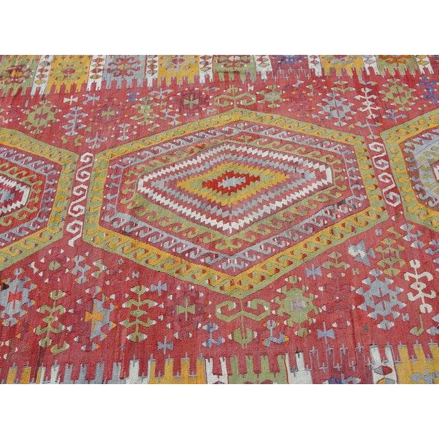 "Cotton Vintage Turkish Kilim Rug - 5'11"" x 10'7"" For Sale - Image 7 of 11"
