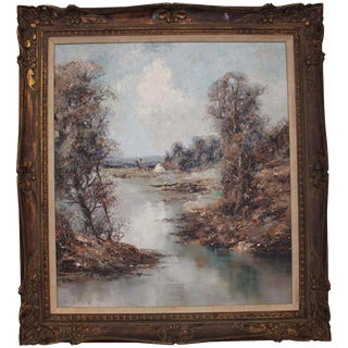 """""""Bayerische Landscape With Fisherman"""" Painting"""