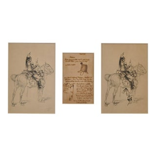 Edouard Detaille - Rare French Military Drawing, Etching and Illustrated Letter c.1875 For Sale