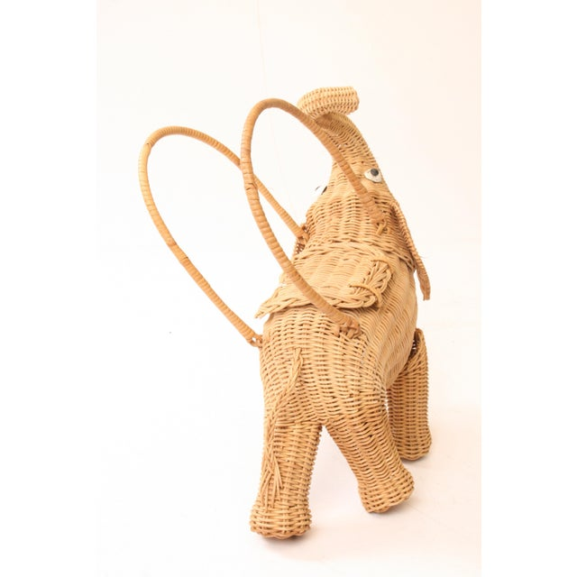 Vintage Wicker Figural Elephant Purse - Image 4 of 11