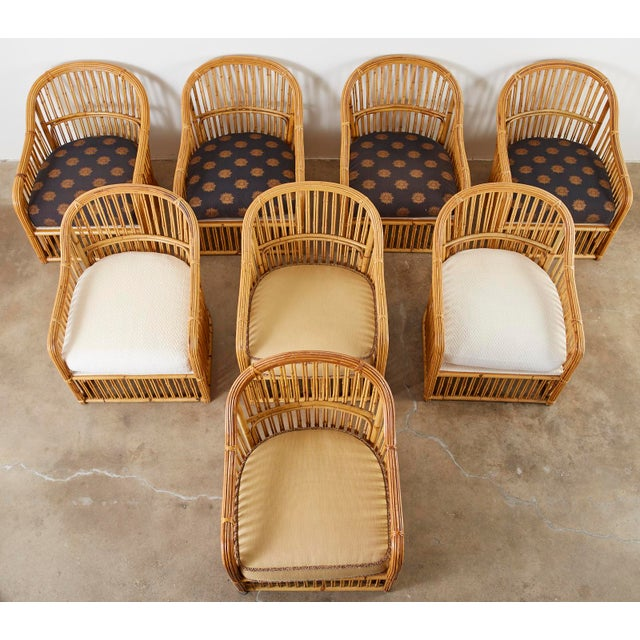 Contemporary Set of Eight Michael Taylor Organic Modern Bamboo Lounge Chairs For Sale - Image 3 of 13