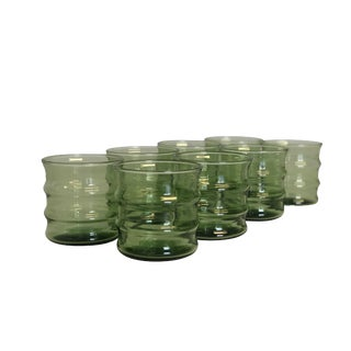 "Mid Century Modern Set of 8 Green ""Bamboo"" Rocks Glasses For Sale"