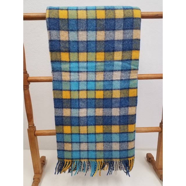 Wool Throw Blues and Yellow Squares - Made in England For Sale - Image 13 of 13