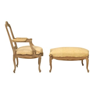 French Antique Duchesse Brisée/Lounge Chair and Ottoman - 2 Pieces For Sale