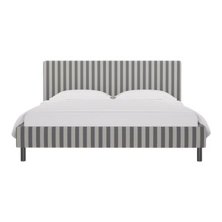California King Tailored Platform Bed in Charcoal Cabana Stripe For Sale
