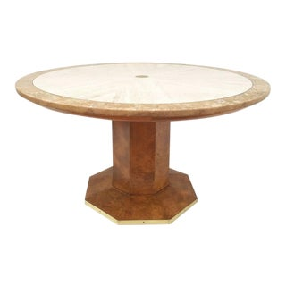 Two Tone Travertine and Burl Wood Game Table by John Widdicomb