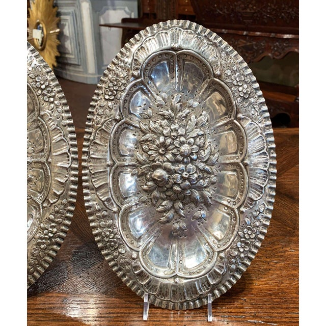 Pair of 19th Century French Repousse Silver Oval Wall Plaques For Sale - Image 4 of 8