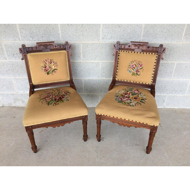 Pair of Victorian Eastlake Needle Point His & Hers Accent Chairs - Image 2 of 11