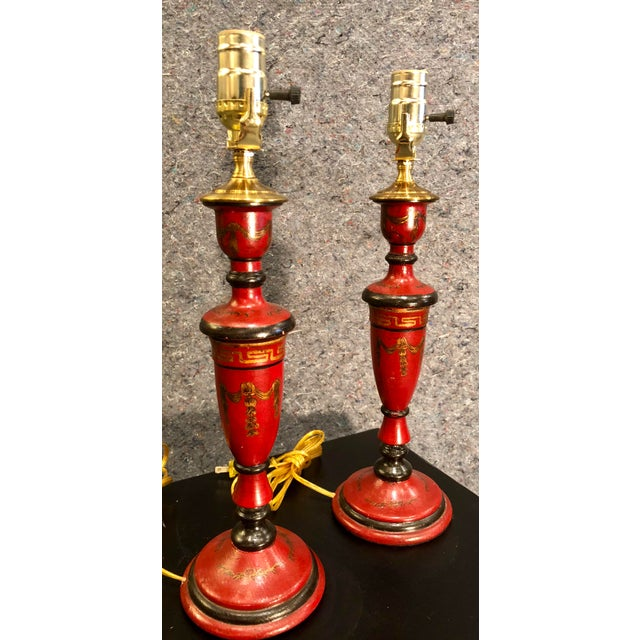 20th Century Chinoiserie Red Candlestick Lamps - a Pair For Sale - Image 4 of 9