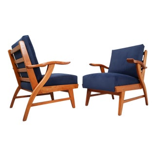 1960s Reupholstered Lounge Chairs With Sculptural Ash Wooden Frame France - a Pair For Sale