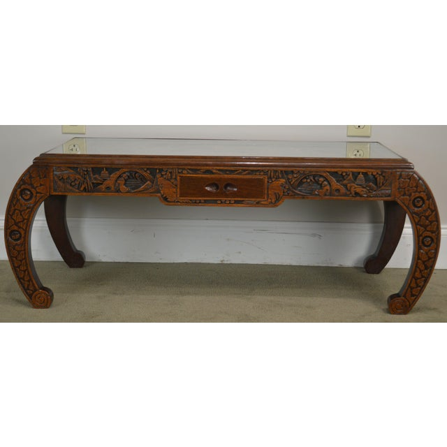 Vintage Oriental Asian Hand Carved Hardwood Coffee Table For Sale - Image 11 of 13