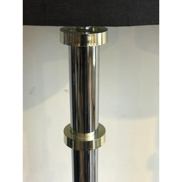 1970s Vintage Chrome and Gold Stand-Up Floor Lamps - A Pair For Sale - Image 5 of 6