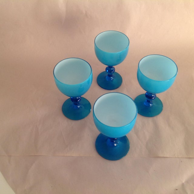 Murano Opaline Milk Glass Cordial Glasses by Carlos Moretti - Set of 4 - Image 2 of 4