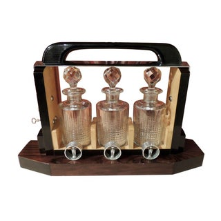 Art Deco Tantalus Decanter Set in Crystal, Wood and Chrome For Sale
