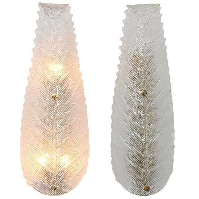 Pair of Large Mid Century Modern Murano Textured Clear Glass Leaf Sconces For Sale In Dallas - Image 6 of 6