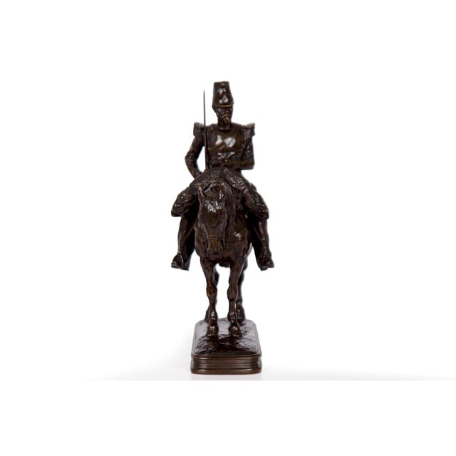 A rare and very fine model of Soldier on Horseback by Emmanuel Fremiet, the work exhibits the innate strength Fremiet had...