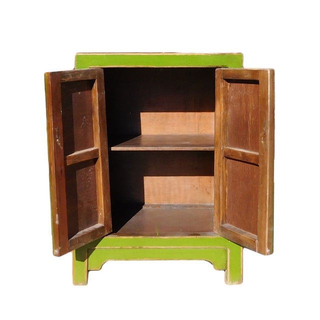 Chinese Rustic Lime Green End Table Nightstand For Sale - Image 5 of 6