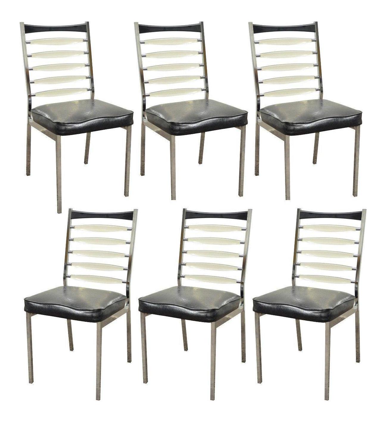 Set 6 Vintage Mid Century Modern Daystrom Chrome Lucite Ladderback Dining  Chairs
