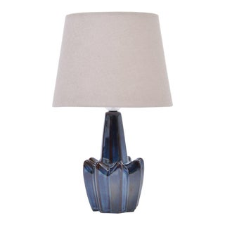 Dark Blue Stoneware Model 1046 Table Lamps from Søholm, 1970s, Set of 2 For Sale