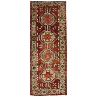 Vintage Mid-Century Turkish Oushak Runner Rug - 5′ × 13′ For Sale