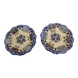 Image of French Hand-Painted Faience Plates - A Pair For Sale