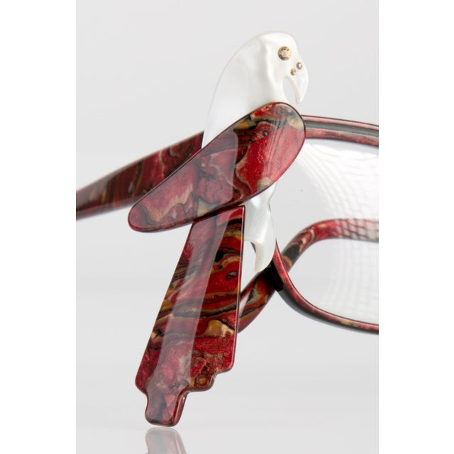Modern 1980s Louis Feraud Parrot Marble Burgundy Glasses Frames for Sunglasses For Sale - Image 3 of 6
