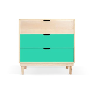 Kabano Modern Kids 3-Drawer Dresser in Maple With Mint Finish Preview