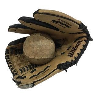 Vintage Wilson Baseball Mitt & Softball For Sale
