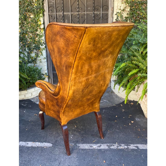 Rose Tarlow Rose Tarlow Melrose House Leather Wingback Chair For Sale - Image 4 of 5