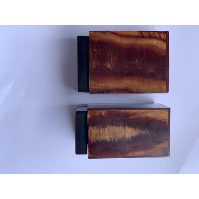 Wood Burl Wood Bookends - a Pair For Sale - Image 7 of 8