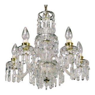 Circa 1940s Lightolier Cut-Crystal Five Arm Chandelier For Sale