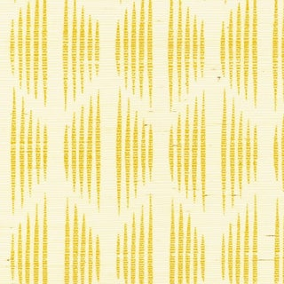 Sample - Schumacher X David Oliver Ovington Sisal Wallpaper in Yellow For Sale