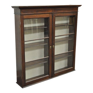 Antique American Colonial Glass Front Mahogany Display Cupboard Hutch Curio Vintage